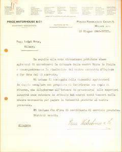 1940 MILANO WW2 Price, Waterhouse & Co. chiude sede italiana *Documento