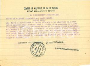 1942 MILITELLO IN VAL DI CATANIA Produttori d'olio devono consegnare gli eccessi