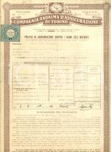1944 BRESCIA Compagnia Anonima Assicurazione TORINO Polizza Maria e Elvira FAINI