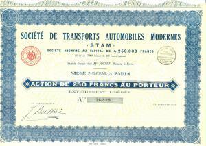 1932 PARIS Société Transports Automobiles Modernes STAM Action 250 Francs
