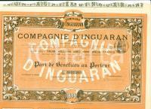1898 PARIS Compagnie d'INGUARAN Parts de Bénéfices au Porteur Certificato