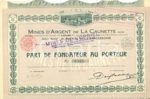 1923 CARCASSONNE Mines d'argent de LA CAUNETTE et de l'ORBIEL *Action au porteur