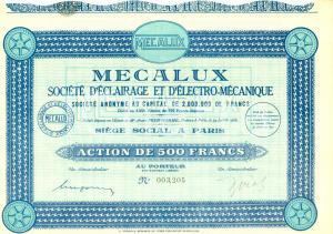 1931 PARIS Mecalux Société d'Eclairage et d'Electro-Mécanique Action 500 Francs