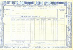 1940 ISTITUTO NAZIONALE DELLE ASSICURAZIONI Estratto conto contributi impiegati