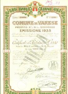 1933 VARESE Prestito 5% Certificato al portatore ANNULLATO con 9 cedole