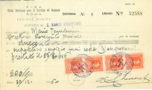 1946 SAN MARCO ARGENTANO Ente Italiano Diritto di Autore Sezione Musica Ricevuta