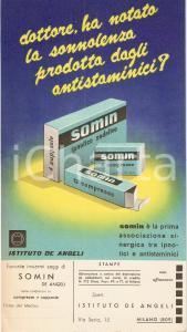 1955 MILANO Istituto DE ANGELI Farmaco SOMIN Ipnotico sedativo *Cartoncino