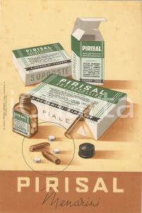 1955 FIRENZE Laboratorio MENARINI Antireumatico PIRISAL Cartoncino pubblicitario