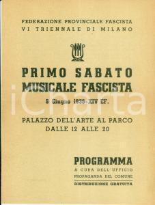 1936 MILANO Antonio VOTTO Primo Sabato Musicale Fascista Programma