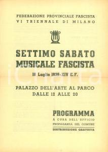 1936 MILANO Luigi CANTONI Settimo Sabato Musicale Fascista Programma