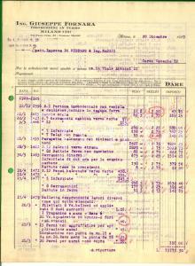 1929 MILANO Ing. Giuseppe FORNARA Costruzioni in ferro *Fattura intestata