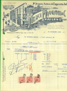 1929 MILANO Fabbrica NERVI MAGGIONI & C. Tappezzeria in carta *Fattura intestata