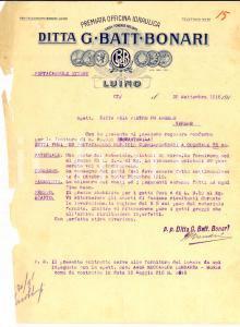 1916 LUINO (VA) Giovanni Battista BONARI Premiata officina idraulica *Fattura