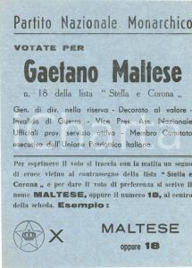 1953 PARTITO NAZIONALE MONARCHICO Gaetano MALTESE Stella e Corona *Volantino