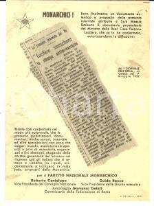 1953 PNM Falcone Lucifero  smaschera la stampa antimonarchica *PROPAGANDA