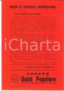 1950 ca UNIONE DI RINASCITA REPUBBLICANA Lo Stato ha bisogno di uomini onesti