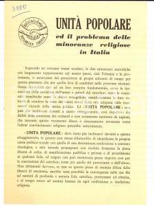 1950 ca UNITA' POPOLARE Problema delle minoranze religiose EBREI e PROTESTANTI