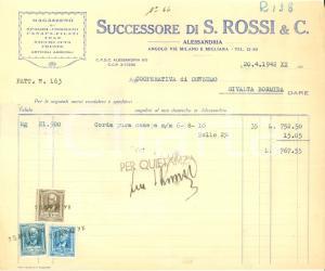 1933 ALESSANDRIA Ditta ROSSI & C. Magazzeno spaghi cordami canapa filati Fattura