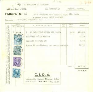 1942 MILANO Commerciale Italiana Dolciumi Affini C.I.D.A. *Fattura commerciale