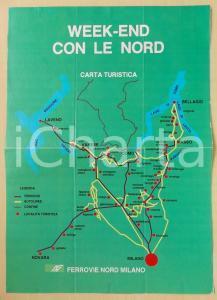 1975 ca FERROVIE NORD MILANO Ed. Federico MOTTA Week-end con LE NORD *Pieghevole