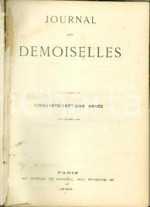 1889 JOURNAL DES DEMOISELLES Annata completa rilegata in volume ILLUSTRATO