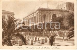 1930 ca CAGLIARI Paseggiata al Bastione di SAINT REMY Animata *Cartolina FP VG