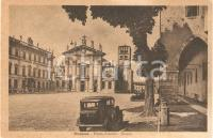 1944 MANTOVA Piazza SORDELLO con DUOMO Panorama ANIMATA *Cartolina FP VG
