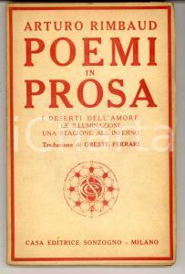 1919 Arturo RIMBAUD Poemi in prosa trad. Oreste FERRARI *Prima edizione italiana