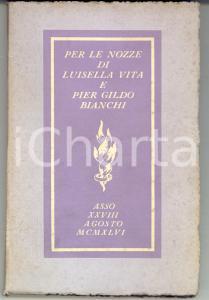 1946 ASSO (CO) Per le nozze di Luisella VITA e Pier Gildo BIANCHI Autografo RARO
