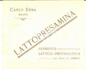 1920 ca MILANO Laboratori Carlo ERBA *Pubblicitario LATTOPRESAMINA Prof. GORINI