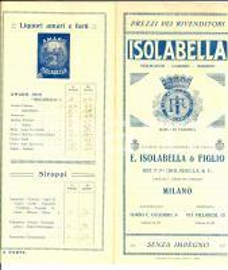 1920 ca MILANO Listino vermouth liquori ISOLABELLA *Pubblicitario