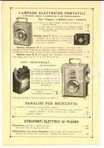 1921 MILANO Listino ELETTROLUCE Lampadine e materiale elettrico *Pubblicitario