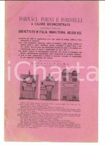 1881 NAPOLI Fornaci, forni e fornelli - Sistema Antonio PALMA *Pubblicitario