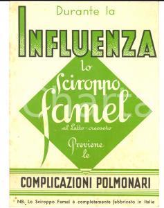 1935 MILANO Laboratori LAPEYRE Sciroppo FAMEL *Cartoncino pubblicitario