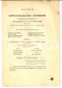 1881 NAPOLI Società di Assicurazioni Diverse - Tariffario *Pubblicazione