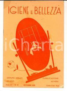 1935 MILANO Istituto HERMES Igiene e bellezza *Rivista Anno XV n° 10