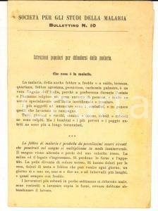 1910 ca Società per gli Studi della MALARIA Bollettino 10 - Istruzioni popolari