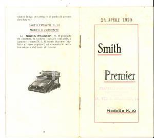 1910 Macchina da scrivere SMITH PREMIER Modello n° 10 *Pubblicitario