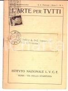 1930 ROMA L'arte per tutti *Pubblicitario Istituto LUCE Anno I n° 1