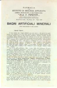 1900 ca NAPOLI Farmacia prof. F. ARENA Bagni artificiali minerali *Pubblicitaria