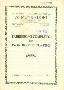 1922 MILANO Stabilimenti editoriali MONDADORI Patronati scolastici listino