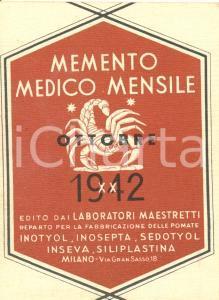 1942 MILANO Laboratori MAESTRETTI Memento medico mensile ottobre ILLUSTRATO