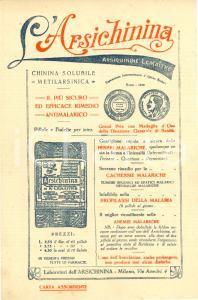 1914 MILANO Arsichinina LEMAITRE febbri malariche *ILLUSTRATO carta assorbente