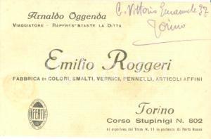 1925 ca TORINO Arnaldo OGGENDA viaggiatore Fabbrica Emilio ROGGERI *Biglietto