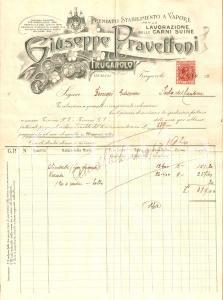 1920 FRUGAROLO (AL) Giuseppe PRAVETTONI Premiata fabbrica salumi *Fattura