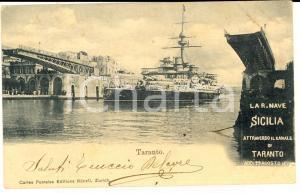 1901 TARANTO Passaggio della REGIA NAVE SICILIA *Cartolina postale ANIMATA FP VG