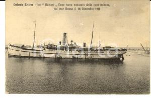 1917 COLONIA ERITREA Nave turca KAISERI catturata nel Mar Rosso *Cartolina FP VG