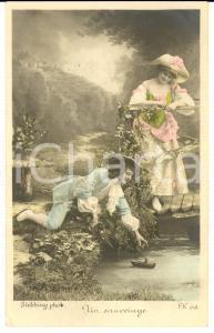 1900 ca FRANCE AMOUR Un sauvetage *Carte postale STEBBING  VINTAGE