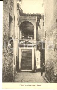 1910 ca SIENA Casa di SANTA CATERINA *Cartolina postale ANIMATA bambino FP