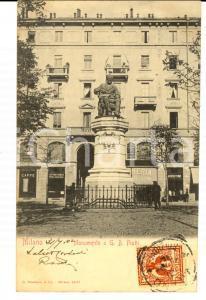 1902 MILANO Monumento a PIATTI *Cartolina ANIMATA stiratoria arrotino FP
